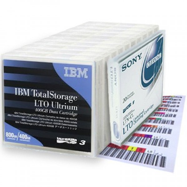 IBM LTO-3 BUNDLE DEAL : 10 backup & 1 Sony Universal cleaning tape, plus 10 labels