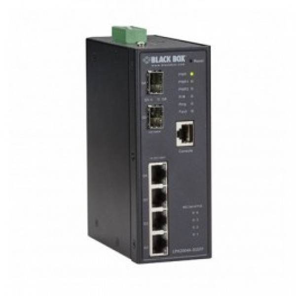 Black Box LPH2004A-2GSFP Industrial Managed Gigabit Ethernet PoE+ Switch