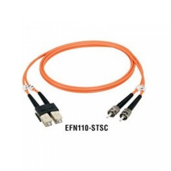 Black Box EFN110-001M-STST Premium Ceramic, Multimode, 62-5-Micron Fiber Optic Patch Cables, ST–ST, Duplex, Riser, 1-m (3.2-ft.)